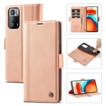 For Xiaomi Redmi Note 10 Pro/Note 10 Pro Max LC.IMEEKE Magnetic Buckle PU + TPU Horizontal Flip Leather Case with Holder & Card Slots & Wallet(Rose Gold)