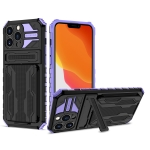 Armor Card PC + TPU Shockproof Case with Card Slot & Invisible Holder For iPhone 13 Pro Max(Purple)