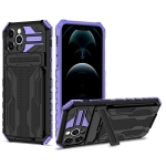 Armor Card PC + TPU Shockproof Case with Card Slot & Invisible Holder For iPhone 12 Pro Max(Purple)