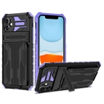 Armor Card PC + TPU Shockproof Case with Card Slot & Invisible Holder For iPhone 11(Purple)