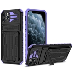 Armor Card PC + TPU Shockproof Case with Card Slot & Invisible Holder For iPhone 11 Pro(Purple)