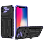 Armor Card PC + TPU Shockproof Case with Card Slot & Invisible Holder For iPhone X / XS(Purple)