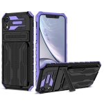 Armor Card PC + TPU Shockproof Case with Card Slot & Invisible Holder For iPhone XR(Purple)