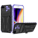 Armor Card PC + TPU Shockproof Case with Card Slot & Invisible Holder For iPhone SE 2020 / 8 / 7(Purple)