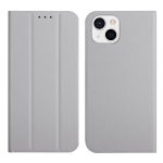 3-Folding Ultrathin Skin Feel Magnetic Solid Color Horizontal Flip Leather Case with Holder For iPhone 13(Grey)