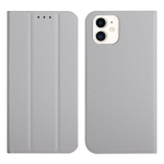 3-Folding Ultrathin Skin Feel Magnetic Solid Color Horizontal Flip Leather Case with Holder For iPhone 12 mini(Grey)