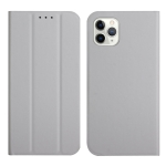 3-Folding Ultrathin Skin Feel Magnetic Solid Color Horizontal Flip Leather Case with Holder For iPhone 12 / 12 Pro(Grey)