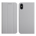 3-Folding Ultrathin Skin Feel Magnetic Solid Color Horizontal Flip Leather Case with Holder For iPhone X / XS(Grey)
