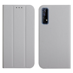 For OPPO Realme 7 3-Folding Ultrathin Skin Feel Magnetic Solid Color Horizontal Flip Leather Case with Holder(Grey)