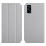 For OPPO Realme 7 Pro 3-Folding Ultrathin Skin Feel Magnetic Solid Color Horizontal Flip Leather Case with Holder(Grey)