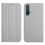 For OPPO Realme X3 / X50 5G 3-Folding Ultrathin Skin Feel Magnetic Solid Color Horizontal Flip Leather Case with Holder(Grey)