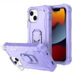 PC + Rubber 3-layers Shockproof Protective Case with Rotating Holder For iPhone 13(Purple)