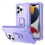 PC + Rubber 3-layers Shockproof Protective Case with Rotating Holder For iPhone 13 Pro(Purple)