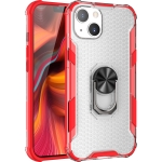 Honeycomb PC + TPU Shockproof Case with Ring Holder For iPhone 13(Red)