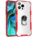 Honeycomb PC + TPU Shockproof Case with Ring Holder For iPhone 13 Pro(Red)