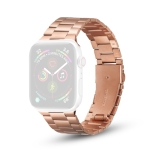 Ultra-thin Three-bead Metal Replacement Strap Watchband For Apple Watch Series 6 & SE & 5 & 4 40mm / 3 & 2 & 1 38mm(Rose Gold)