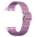 Adjustable Rhombic Texture Elastic Replacement Strap Watchband For Apple Watch Series 6 & SE & 5 & 4 40mm / 3 & 2 & 1 38mm(Purple)