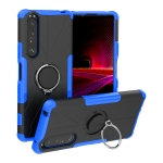 For Sony Xperia 1 III Armor Bear Shockproof PC + TPU Protective Case with Ring Holder(Blue)