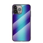 Gradient Carbon Fiber Texture TPU Border Tempered Glass Case For iPhone 13 Pro Max(Blue Fiber)