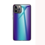 Gradient Carbon Fiber Texture TPU Border Tempered Glass Case For iPhone 12 / 12 Pro(Blue Fiber)