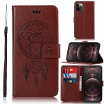 Wind Chime Owl Embossing Pattern Horizontal Flip Leather Case with Holder & Card Slots & Wallet For iPhone 13 Pro Max(Brown)