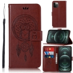 Wind Chime Owl Embossing Pattern Horizontal Flip Leather Case with Holder & Card Slots & Wallet For iPhone 13 Pro(Brown)
