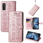 For Vivo iQOO Neo3 Lovely Cat and Dog Embossing Pattern Horizontal Flip Leather Case , with Holder & Card Slots & Wallet & Cartoon Clasp & Lanyard(Rose Gold)