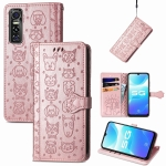 For Vivo S7e 5G Lovely Cat and Dog Embossing Pattern Horizontal Flip Leather Case , with Holder & Card Slots & Wallet & Cartoon Clasp & Lanyard(Rose Gold)