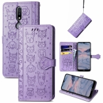 For Nokia 2.4 Lovely Cat and Dog Embossing Pattern Horizontal Flip Leather Case , with Holder & Card Slots & Wallet & Cartoon Clasp & Lanyard(Purple)