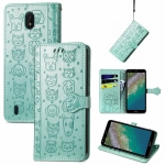 For Nokia C01 Plus Lovely Cat and Dog Embossing Pattern Horizontal Flip Leather Case , with Holder & Card Slots & Wallet & Cartoon Clasp & Lanyard(Green)