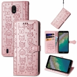 For Nokia C01 Plus Lovely Cat and Dog Embossing Pattern Horizontal Flip Leather Case , with Holder & Card Slots & Wallet & Cartoon Clasp & Lanyard(Rose Gold)