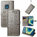 For Nokia XR20 Lovely Cat and Dog Embossing Pattern Horizontal Flip Leather Case , with Holder & Card Slots & Wallet & Cartoon Clasp & Lanyard(Grey)