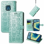 For Nokia XR20 Lovely Cat and Dog Embossing Pattern Horizontal Flip Leather Case , with Holder & Card Slots & Wallet & Cartoon Clasp & Lanyard(Green)