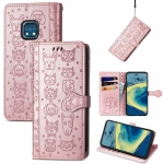 For Nokia XR20 Lovely Cat and Dog Embossing Pattern Horizontal Flip Leather Case , with Holder & Card Slots & Wallet & Cartoon Clasp & Lanyard(Rose Gold)