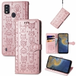 For ZTE A51 Lovely Cat and Dog Embossing Pattern Horizontal Flip Leather Case , with Holder & Card Slots & Wallet & Cartoon Clasp & Lanyard(Rose Gold)