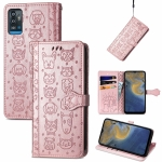 For ZTE A71 Lovely Cat and Dog Embossing Pattern Horizontal Flip Leather Case , with Holder & Card Slots & Wallet & Cartoon Clasp & Lanyard(Rose Gold)