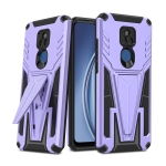 For Motorola Moto G Play 2021 Super V Armor PC + TPU Shockproof Case with Invisible Holder(Purple)