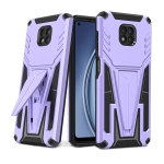 For Motorola Moto G Power 2021 Super V Armor PC + TPU Shockproof Case with Invisible Holder(Purple)