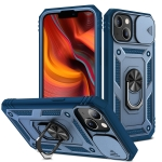 Sliding Camera Cover Design TPU + PC Protective Case with 360 Degree Rotating Holder & Card Slot For iPhone 13(Blue+Blue)