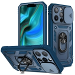 Sliding Camera Cover Design TPU + PC Protective Case with 360 Degree Rotating Holder & Card Slot For iPhone 13 Pro Max(Blue+Blue)