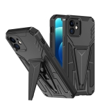 Super V Armor PC + TPU Shockproof Case with Invisible Holder For iPhone 12(Black)