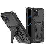 Super V Armor PC + TPU Shockproof Case with Invisible Holder For iPhone 12 Pro Max(Black)