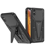 Super V Armor PC + TPU Shockproof Case with Invisible Holder For iPhone X / XS(Black)