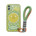 Smiley Face Pattern TPU Accurate Hole Protective Case with Wristband For iPhone 12 Pro(Yellow)