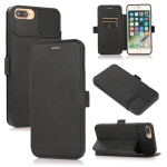 Push Window Double Buckle PU + Silicone Horizontal Flip Leather Case with Holder & Card Slot For iPhone 8 Plus & 7 Plus(Black)