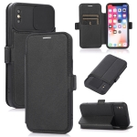 Push Window Double Buckle PU + Silicone Horizontal Flip Leather Case with Holder & Card Slot For iPhone X & XS(Black)