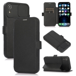 Push Window Double Buckle PU + Silicone Horizontal Flip Leather Case with Holder & Card Slot For iPhone XR(Black)