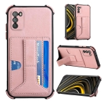 For Xiaomi Poco M3 Dream PU + TPU Four-corner Shockproof Back Cover Case with Card Slots & Holder(Rose Gold)