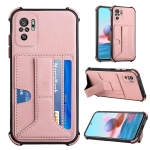 For Xiaomi Redmi Note 10 4G / Note 10S Dream PU + TPU Four-corner Shockproof Back Cover Case with Card Slots & Holder(Rose Gold)