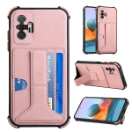 For Xiaomi Redmi Note 10 Pro /  Note 10 Pro Max Dream PU + TPU Four-corner Shockproof Back Cover Case with Card Slots & Holder(Rose Gold)
